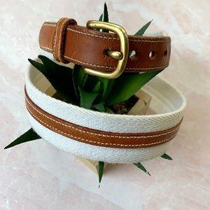 VTG Dooney & Bourke White Canvas/Tan Leather Belt